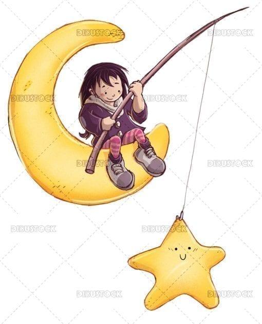 Little girl catching a star