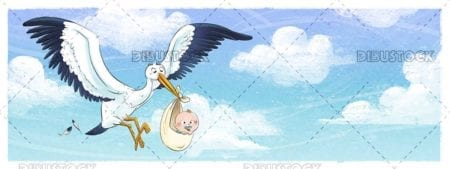 Stork flying through the sky with newborn