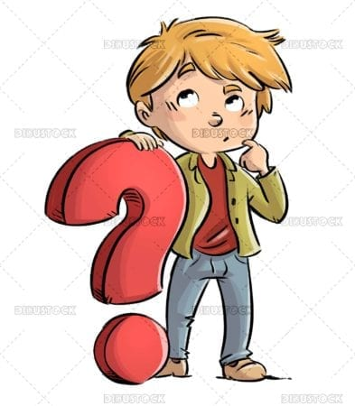 Thoughtful child with question mark