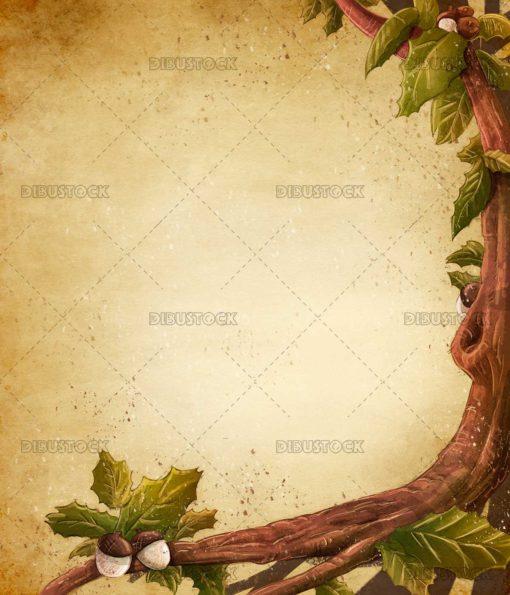 Acorn tree frame in autumn