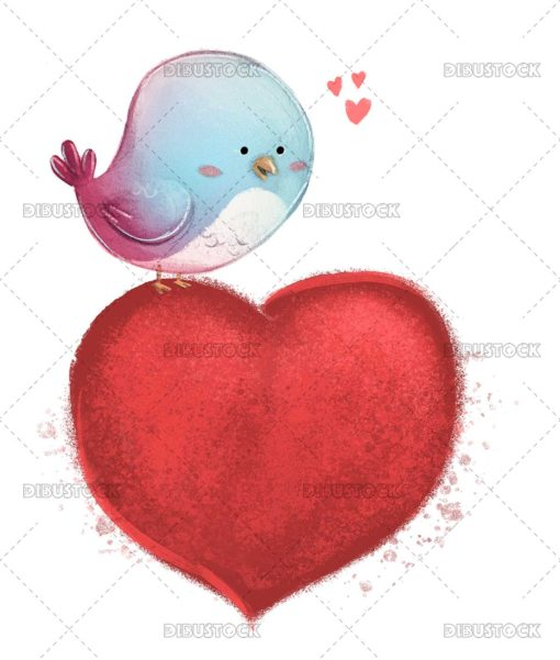 Bird in love with heart