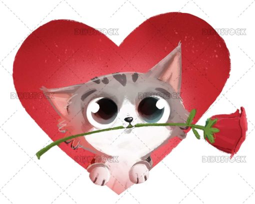 Cat in love with rose