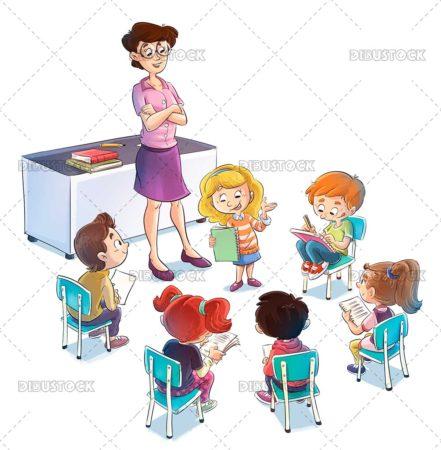 Children with teacher giving class at school