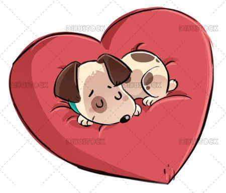 Dog with heart shaped cushion