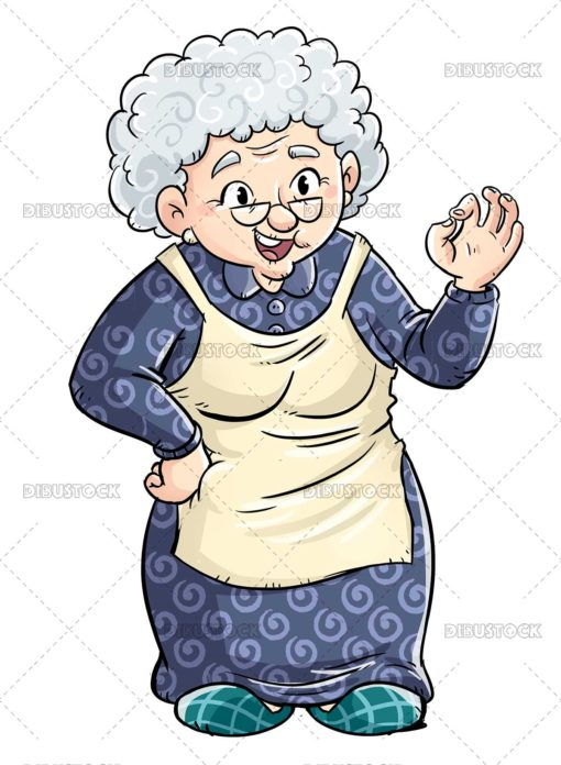 Elderly grandmother making the ok symbol with her hands
