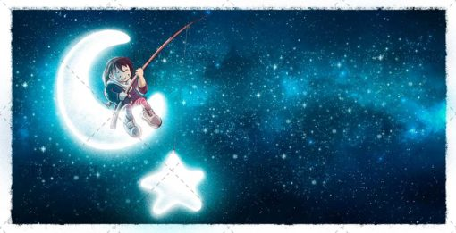 Girl catching a star on the moon