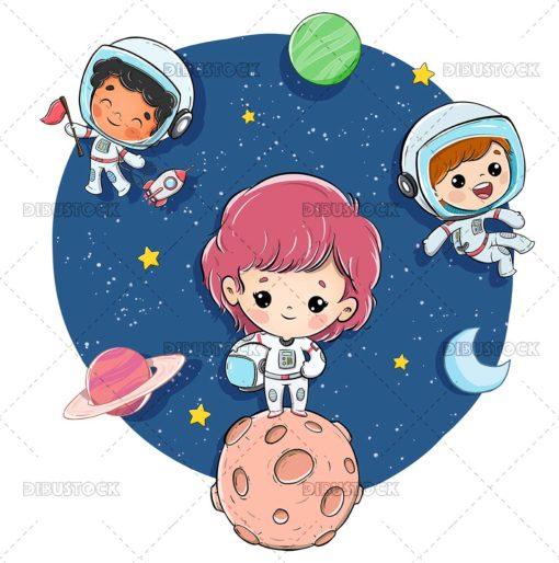Group of children in space with planets and stars