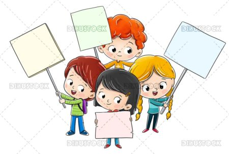 Group of children with signs in one showing something