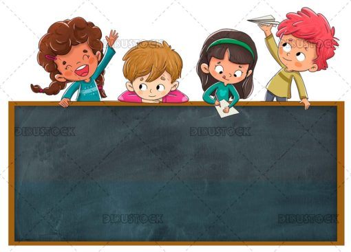 Group of naughty children playing with a blackboard
