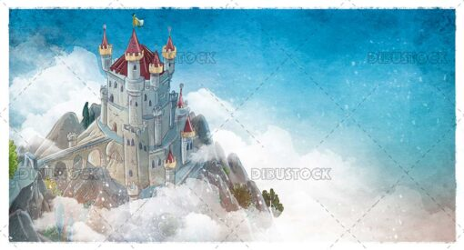 Magic castle in the mountains