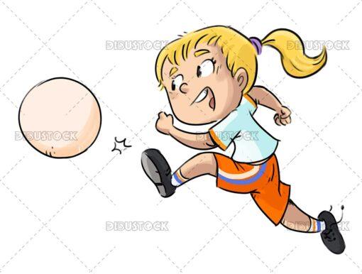 Soccer girl kicking a ball