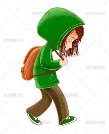 Teen walking sad and alone