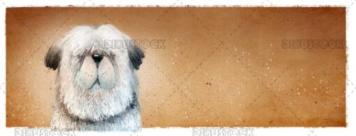White furry dog face